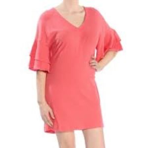 Lucky Brand Coral Ruffle Sleeve Dress